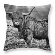 Magestic Highland Cow Throw Pillow by John Farnan