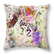 Magic Johnson Throw Pillow by Aged Pixel