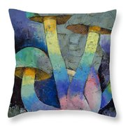 Magic Mushrooms Throw Pillow by Michael Creese