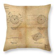 Magneto System Blueprint Throw Pillow by James Christopher Hill
