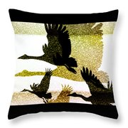 Magpie Geese in Flight Throw Pillow by Holly Kempe