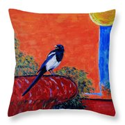 Magpie Singing At The Bath Throw Pillow by Xueling Zou