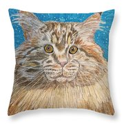 Maine Coon Cat Throw Pillow by Kathy Marrs Chandler
