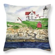 Maine Lighthouse Watercolor Throw Pillow by Michelle Wiarda