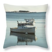 Maine Lobster Boats In Winter Throw Pillow by Keith Webber Jr