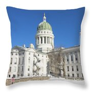 Maine State Capitol Building In Winter Augusta Throw Pillow by Keith Webber Jr