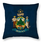 Maine State Flag Art On Worn Canvas Throw Pillow by Design Turnpike