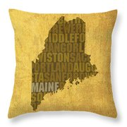 Maine Word Art State Map On Canvas Throw Pillow by Design Turnpike