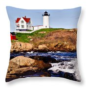 Maine's Nubble Light Throw Pillow by Mitchell R Grosky