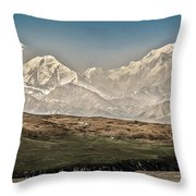 Majestic Mount Mckinley Throw Pillow by Penny Lisowski