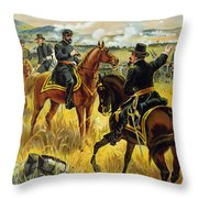 Major General George Meade At The Battle Of Gettysburg Throw Pillow by Henry Alexander Ogden