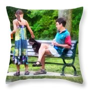 Making A New Friend In The Park Throw Pillow by Susan Savad
