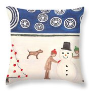 Making A Snowman At Christmas Throw Pillow by Patrick J Murphy