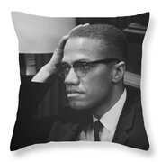 Malcolm X 1964 Throw Pillow by Mountain Dreams