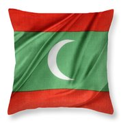 Maldives Flag Throw Pillow by Les Cunliffe