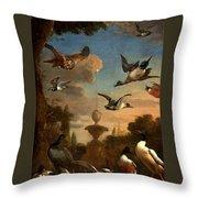 Mallard Golden Eagle Wild Fowl In Flight Throw Pillow by Melchior de Hondecoeter