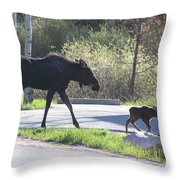 Mama And Baby Moose Throw Pillow by Fiona Kennard