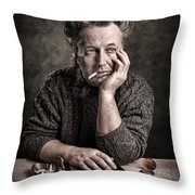Man At The Table - Lonely Hearts Club Throw Pillow by Gary Heller