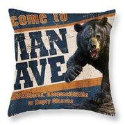 Man Cave Balck Bear Throw Pillow by JQ Licensing