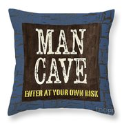 Man Cave Enter At Your Own Risk Throw Pillow by Debbie DeWitt
