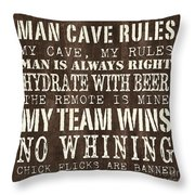 Man Cave Rules 1 Throw Pillow by Debbie DeWitt