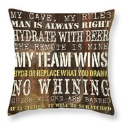 Man Cave Rules 2 Throw Pillow by Debbie DeWitt