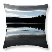 Man Fly Fishing Throw Pillow by Judith Katz