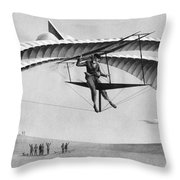 Man Gliding In 1883 Throw Pillow by Underwood Archives