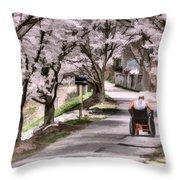 Man In Wheelchair Under Cherry Blossoms Throw Pillow by Dan Friend