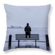 Man On Bench Throw Pillow by Joana Kruse