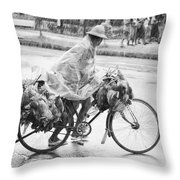 Man Riding Bicycle Carrying Chickens Throw Pillow by Stuart Corlett