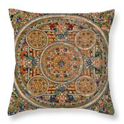 Mandala Of Heruka In Yab Yum And Buddhas Throw Pillow by Lanjee Chee