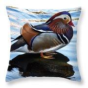 Mandarin Duck Throw Pillow by Robert Bales