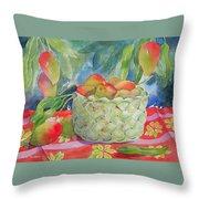 Mango Harvest Throw Pillow by Kathleen Rutten