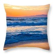 Manhattan Beach Sunset Throw Pillow by Inge Johnsson