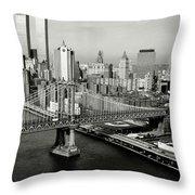 Manhattan Bridge Throw Pillow by Benjamin Yeager
