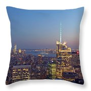 Manhattan Skyline from the Top of the Rock Throw Pillow by Juergen Roth