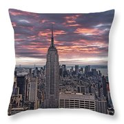 Manhattan Under A Red Sky Throw Pillow by Joachim G Pinkawa
