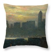 Manhattans Misty Sunset Throw Pillow by Childe Hassam
