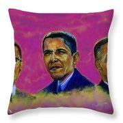 M.a.n...malcolm- Obama- Martin Throw Pillow by Tommy  Winn