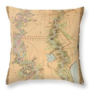 Map Depicting Plantations On The Mississippi River From Natchez To New Orleans Throw Pillow by American School
