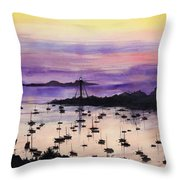 Marblehead Sunset Watercolor Throw Pillow by Michelle Wiarda