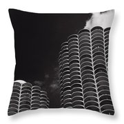 Marina City Morning B W Throw Pillow by Steve Gadomski