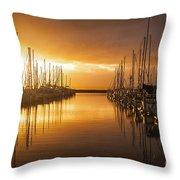 Marina Golden Sunset Throw Pillow by Mike Reid