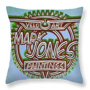 Mark Jones Velo Art Painting Blue Throw Pillow by Mark Howard Jones