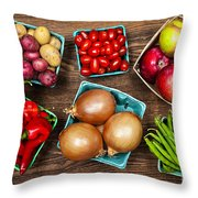 Market Fruits And Vegetables Throw Pillow by Elena Elisseeva