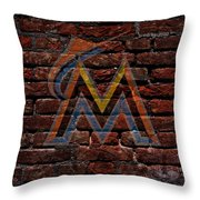 Marlins Baseball Graffiti On Brick  Throw Pillow by Movie Poster Prints