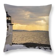 Marshall Point Lighthouse In Winter Maine  Throw Pillow by Keith Webber Jr