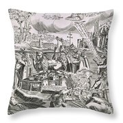 Martin Luther 1483 1546 Writing On The Church Door At Wittenberg In 1517  Throw Pillow by Swiss School