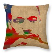 Martin Luther King Jr Watercolor Portrait On Worn Distressed Canvas Throw Pillow by Design Turnpike